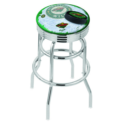 "25"" Chrome Double Ring Minnesota Wild (Design 2) Swivel Bar Stool with 25"" Ribbed Accent Ring by Holland Bar Stool mpany; UPC: 071235074722"