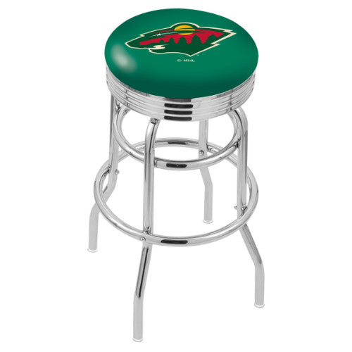 "30"" Chrome Double Ring Minnesota Wild Swivel Bar Stool with 25"" Ribbed Accent Ring by Holland Bar Stool mpany; UPC: 071235072698"