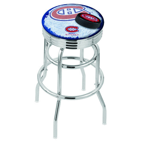 "30"" Chrome Double Ring Montreal Canadiens (Design 2) Swivel Bar Stool with 25"" Ribbed Accent Ring by Holland Bar Stool mpany; UPC: 071235076450"