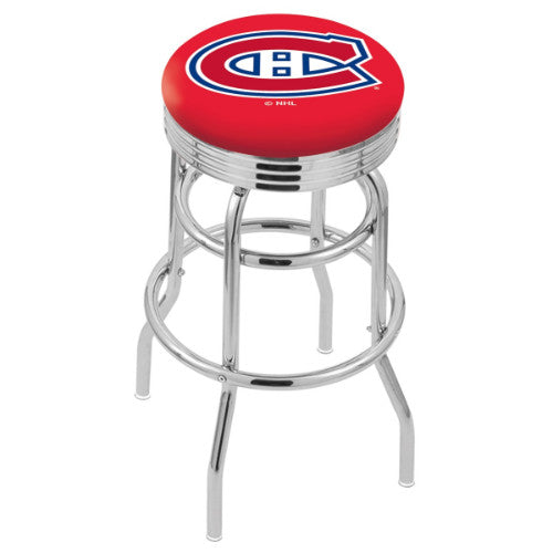 "30"" Chrome Double Ring Montreal Canadiens Swivel Bar Stool with 25"" Ribbed Accent Ring by Holland Bar Stool mpany; UPC: 071235072711"