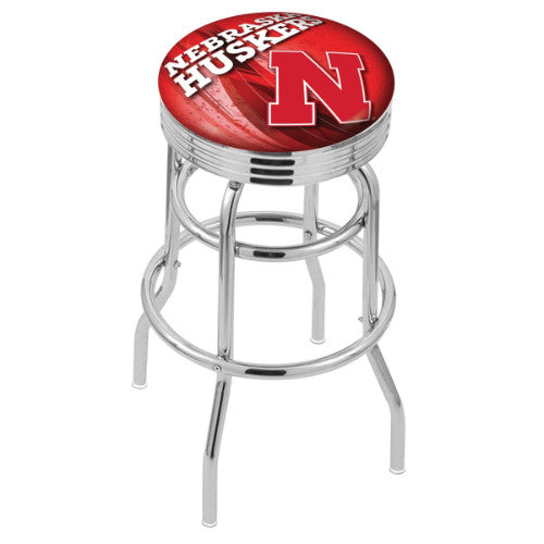 "30"" Chrome Double Ring Nebraska (Design 2) Swivel Bar Stool by Holland Bar Stool Company; UPC: 071235076603"