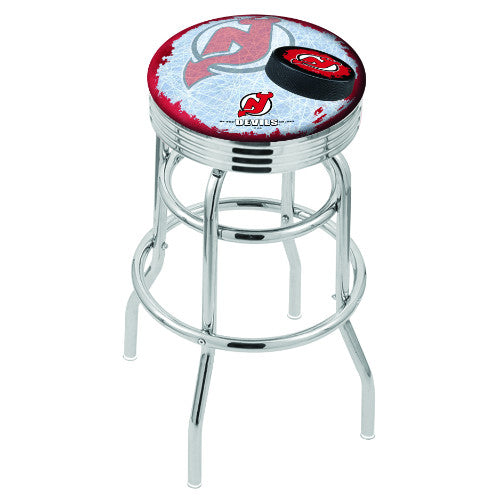 "30"" Chrome Double Ring New Jersey Devils (Design 2) Swivel Bar Stool with 25"" Ribbed Accent Ring by Holland Bar Stool mpany; UPC: 071235076634"