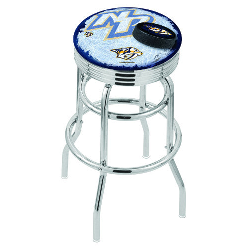 "25"" Chrome Double Ring Nashville Predators (Design 2) Swivel Bar Stool with 25"" Ribbed Accent Ring by Holland Bar Stool mpany; UPC: 071235074999"