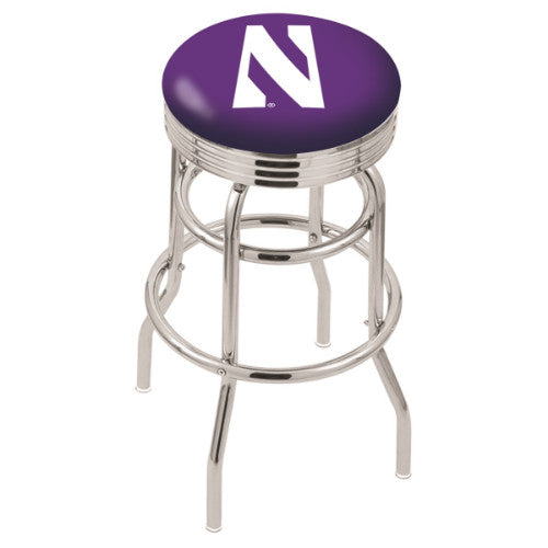 "25"" Chrome Double Ring Northwestern Swivel Bar Stool with 2.5"" Ribbed Accent Ring by Holland Bar Stool Company; UPC: 071235070625"