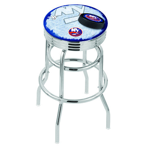 "30"" Chrome Double Ring New York Islanders (Design 2) Swivel Bar Stool with 25"" Ribbed Accent Ring by Holland Bar Stool mpany; UPC: 071235076719"