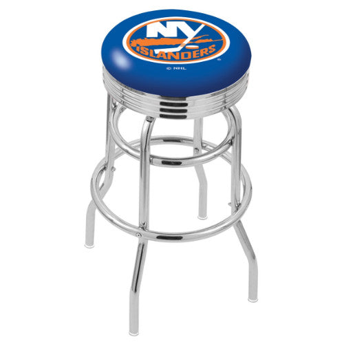 "30"" Chrome Double Ring New York Islanders Swivel Bar Stool with 25"" Ribbed Accent Ring by Holland Bar Stool mpany; UPC: 071235072773"