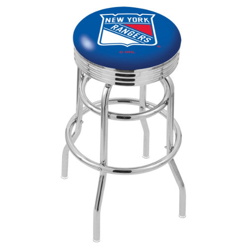"25"" Chrome Double Ring New York Rangers Swivel Bar Stool with 25"" Ribbed Accent Ring by Holland Bar Stool mpany; UPC: 071235072780"