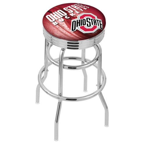 "30"" Chrome Double Ring Ohio State (Design 2) Swivel Bar Stool by Holland Bar Stool Company; UPC: 071235076733"