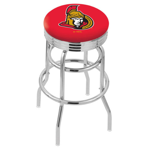 "25"" Chrome Double Ring Ottawa Senators Swivel Bar Stool with 25"" Ribbed Accent Ring by Holland Bar Stool mpany; UPC: 071235072803"