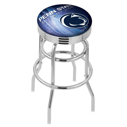 "30"" Chrome Double Ring Penn State (Design 2) Swivel Bar Stool by Holland Bar Stool Company; UPC: 071235076788"