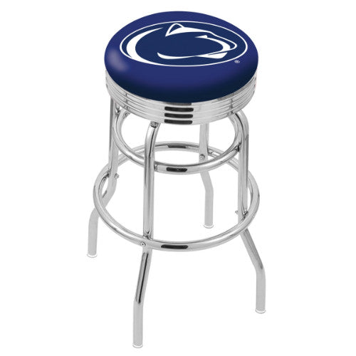 "25"" Chrome Double Ring Penn State Swivel Bar Stool by Holland Bar Stool Company; UPC: 071235070786"