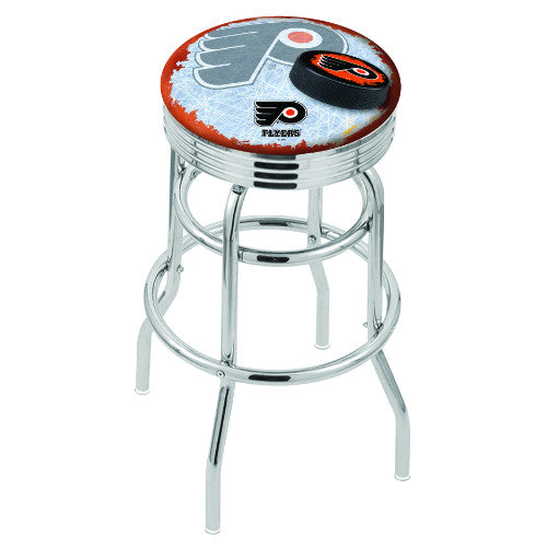 "25"" Chrome Double Ring Philadelphia Flyers (Design 2) Swivel Bar Stool in Orange with 25"" Ribbed Accent Ring; UPC: 071235075101"