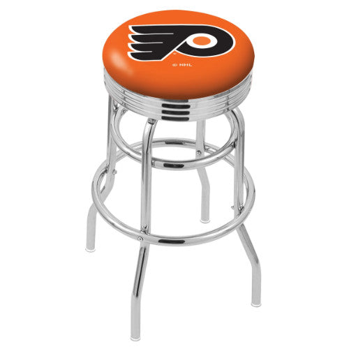 "30"" Chrome Double Ring Philadelphia Flyers Swivel Bar Stool in Orange with 25"" Ribbed Accent Ring; UPC: 071235072858"