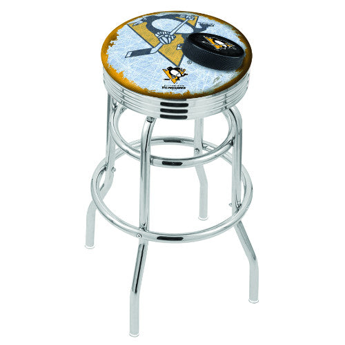 "30"" Chrome Double Ring Pittsburgh Penguins (Design 2) Swivel Bar Stool with 25"" Ribbed Accent Ring by Holland Bar Stool mpany; UPC: 071235076818"