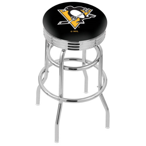 "25"" Chrome Double Ring Pittsburgh Penguins Swivel Bar Stool with 25"" Ribbed Accent Ring by Holland Bar Stool mpany; UPC: 071235072889"