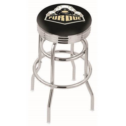 "30"" Chrome Double Ring Purdue Swivel Bar Stool by Holland Bar Stool Company; UPC: 071235070816"