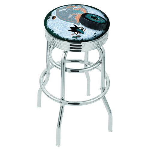 "30"" Chrome Double Ring San Jose Sharks (Design 2) Swivel Bar Stool with 25"" Ribbed Accent Ring by Holland Bar Stool mpany; UPC: 071235076863"