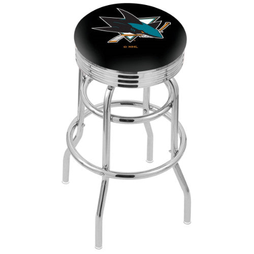 "30"" Chrome Double Ring San Jose Sharks Swivel Bar Stool with 25"" Ribbed Accent Ring by Holland Bar Stool mpany; UPC: 071235072919"