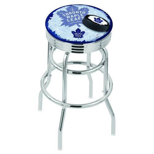 "30"" Chrome Double Ring Toronto Maple Leafs (Design 2) Swivel Bar Stool with 25"" Ribbed Accent Ring by Holland Bar Stool mpany; UPC: 071235077006"