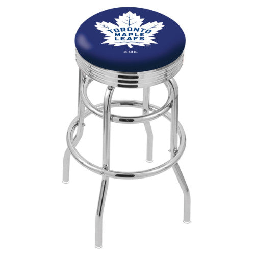 "30"" Chrome Double Ring Toronto Maple Leafs Swivel Bar Stool with 25"" Ribbed Accent Ring by Holland Bar Stool mpany; UPC: 071235072971"