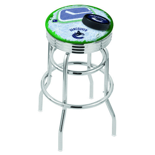 "25"" Chrome Double Ring Vanuver Canucks (Design 2) Swivel Bar Stool with 25"" Ribbed Accent Ring by Holland Bar Stool mpany; UPC: 071235075439"