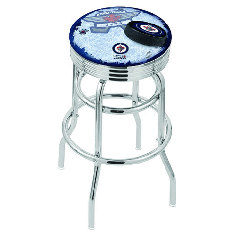 "25"" Chrome Double Ring Winnipeg Jets (Design 2) Swivel Bar Stool with 25"" Ribbed Accent Ring by Holland Bar Stool mpany; UPC: 071235075576"