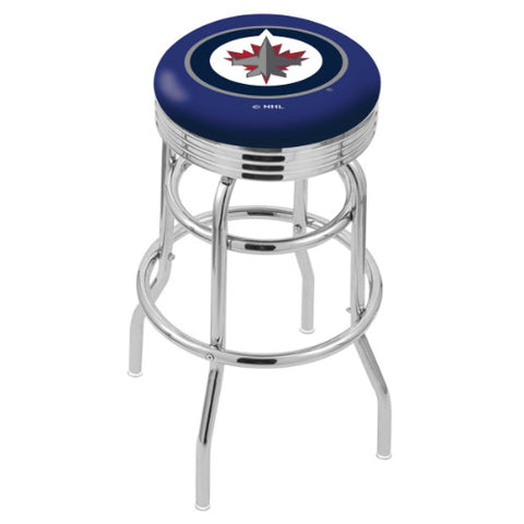 "30"" Chrome Double Ring Winnipeg Jets Swivel Bar Stool with 25"" Ribbed Accent Ring by Holland Bar Stool mpany; UPC: 071235073039"