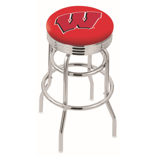 "30"" Chrome Double Ring Wisconsin ""W"" Swivel Bar Stool by Holland Bar Stool Company; UPC: 071235071998"