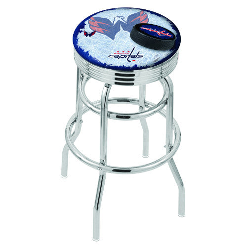 "25"" Chrome Double Ring Washington Capitals (Design 2) Swivel Bar Stool with 25"" Ribbed Accent Ring by Holland Bar Stool mpany; UPC: 071235075606"