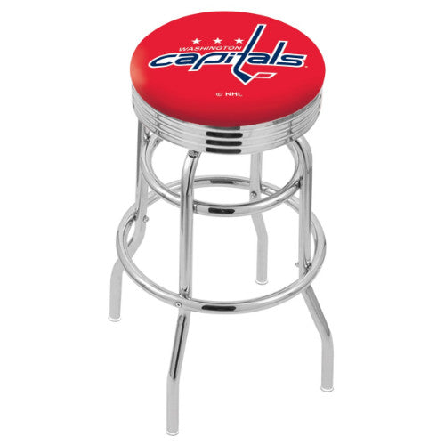 "30"" Chrome Double Ring Washington Capitals Swivel Bar Stool with 25"" Ribbed Accent Ring by Holland Bar Stool mpany; UPC: 071235073015"
