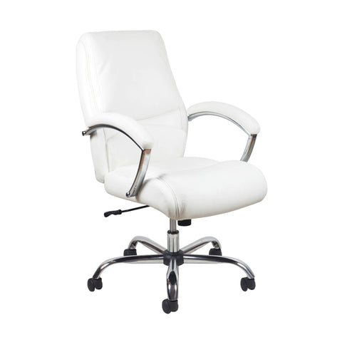 Essentials by OFM ESS-6070 Ergonomic High-Back Bonded Leather Executive Chair, White with Chrome Finish ; UPC: 089191014034 ; Image 1