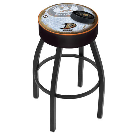 "25"" Anaheim Ducks Cushion Seat with Black Wrinkle Base (Design 2) Swivel Bar Stool by Holland Bar Stool mpany ; UPC: 071235094010"