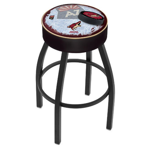 "25"" Arizona yotes Cushion Seat with Black Wrinkle Base (Design 2) Swivel Bar Stool by Holland Bar Stool mpany ; UPC: 071235094034"