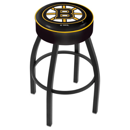 "30"" Boston Bruins Cushion Seat with Black Wrinkle Base Swivel Bar Stool by Holland Bar Stool mpany ; UPC: 071235092436"