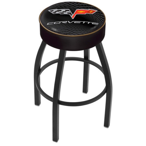 "30"" Corvette C6 Black Cushion Seat with Black Wrinkle Base Swivel Bar Stool with gold accent by Holland Bar Stool Co.; UPC: 071235093150"