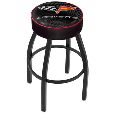 "25"" Corvette C6 Black Cushion Seat with Black Wrinkle Base Swivel Bar Stool with red accent by Holland Bar Stool Co.; UPC: 071235093129"