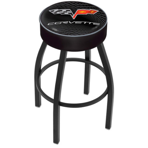 "30"" Corvette C6 Black Cushion Seat with Black Wrinkle Base Swivel Bar Stool with silver accent by Holland Bar Stool Co.; UPC: 071235093174"
