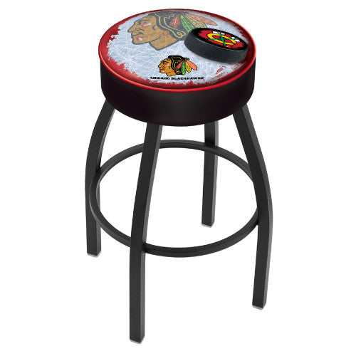 "25"" Chicago Blackhawks Black Cushion Seat with Black Wrinkle Base (Design 2) Swivel Bar Stool by Holland Bar Stool mpany ; UPC: 071235094218"