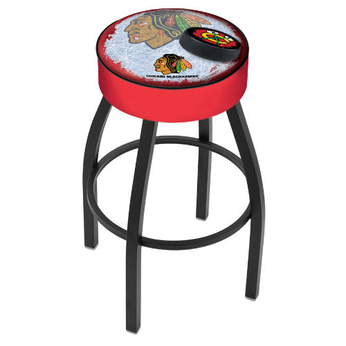 "25"" Chicago Blackhawks Cushion Seat with Black Wrinkle Base (Design 2) Swivel Bar Stool by Holland Bar Stool mpany ; UPC: 071235094225"