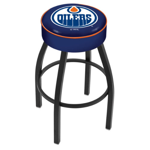 "25"" Edmonton Oilers Cushion Seat with Black Wrinkle Base Swivel Bar Stool by Holland Bar Stool mpany ; UPC: 071235092627"