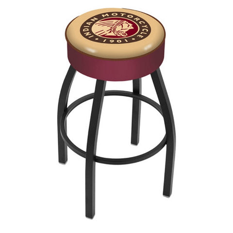 "30"" Indian Motorcycle Cushion Seat with Black Wrinkle Base Swivel Bar Stool by Holland Bar Stool Company ; UPC: 071235093655"