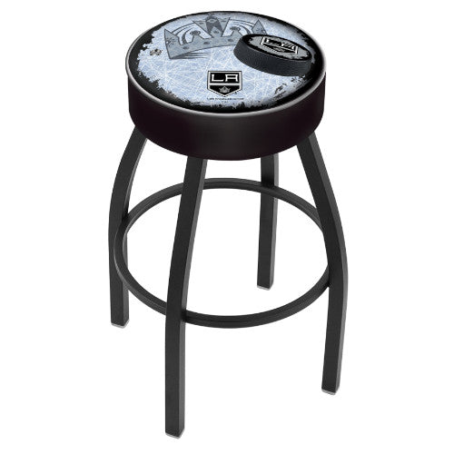 "25"" Los Angeles Kings Cushion Seat with Black Wrinkle Base (Design 2) Swivel Bar Stool by Holland Bar Stool mpany ; UPC: 071235094638"