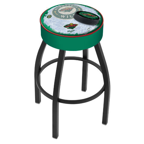 "30"" Minnesota Wild Cushion Seat with Black Wrinkle Base (Design 2) Swivel Bar Stool by Holland Bar Stool mpany ; UPC: 071235096465"