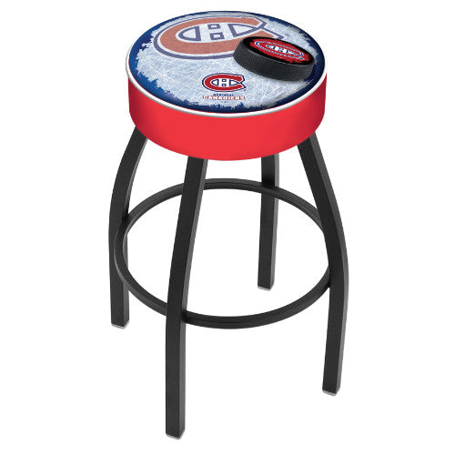 "30"" Montreal Canadiens Cushion Seat with Black Wrinkle Base (Design 2) Swivel Bar Stool by Holland Bar Stool mpany ; UPC: 071235096496"