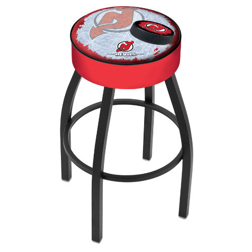 "25"" New Jersey Devils Cushion Seat with Black Wrinkle Base (Design 2) Swivel Bar Stool by Holland Bar Stool mpany ; UPC: 071235094973"
