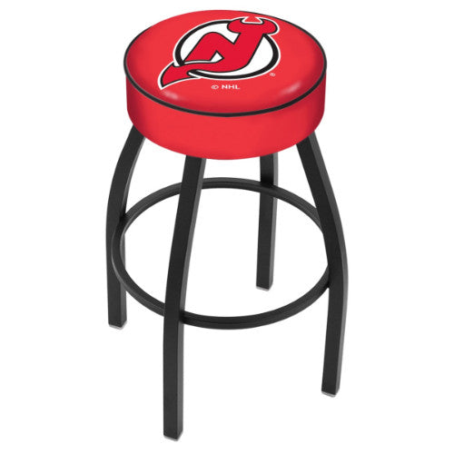 "25"" New Jersey Devils Cushion Seat with Black Wrinkle Base Swivel Bar Stool by Holland Bar Stool mpany ; UPC: 071235092740"