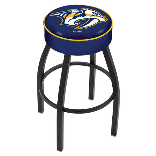 "30"" Nashville Predators Cushion Seat with Black Wrinkle Base Swivel Bar Stool by Holland Bar Stool mpany ; UPC: 071235092733"