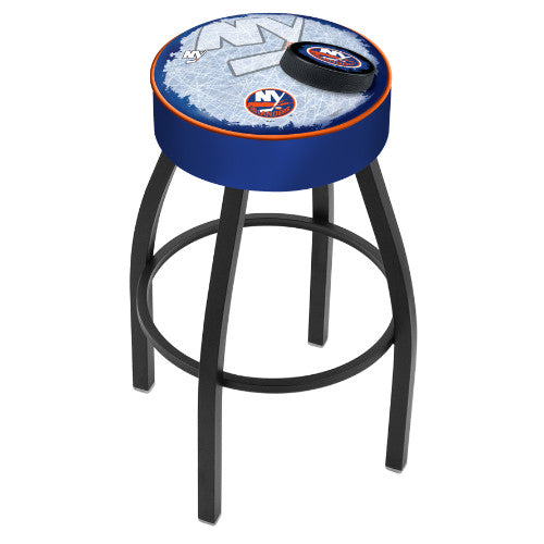 "25"" New York Islanders Cushion Seat with Black Wrinkle Base (Design 2) Swivel Bar Stool by Holland Bar Stool mpany ; UPC: 071235095055"