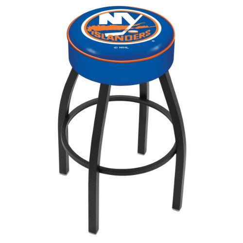 "25"" New York Islanders Cushion Seat with Black Wrinkle Base Swivel Bar Stool by Holland Bar Stool mpany ; UPC: 071235092764"