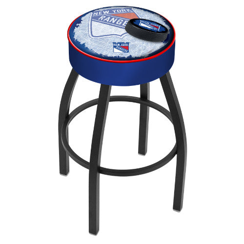 "30"" New York Rangers (Design 2) Cushion Seat with Black Wrinkle Base Swivel Bar Stool by Holland Bar Stool mpany ; UPC: 071235096762"